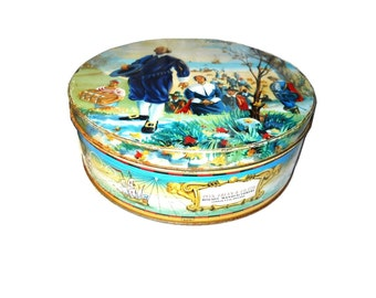 Cottage Chic Scarce Peek Frean Biscuit Cookie Candy Advertising Lithograph Tin Vintage 1940s-1950s England Mayflower Ships Pilgrims