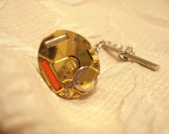 Steampunk Tie Tack with Watch Parts