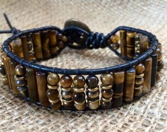 Leather TigerEye mens bracelet