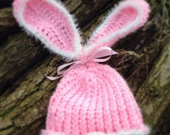 Baby bunny rabbit Hat, floppy bunny ears, Easter hat, baby gift photo prop