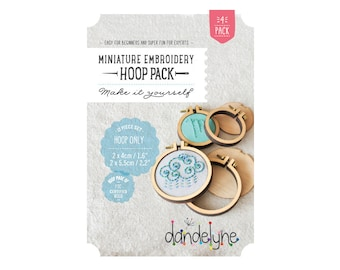 "Mini embroidery hoop frames - variety pack - PACK OF 4 - 2 x 40mm/1.6"" and 2 x 55mm/2.2"" hoops - Dandelyne design"