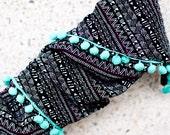 Pompom Scarf - Inca Black, turquoise