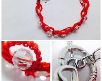 Red Waves Macrame Bracelet