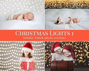 """Christmas photo overlays """"Christmas Lights 1"""",  holiday bokeh photo overlays for Photoshop, photo overlays for Photographers"""