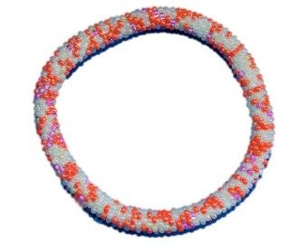 Orange,Pink and Matte White Crocheted Beaded Bracelet, Czech Seed Beads,Nepal, PB323