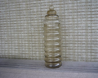 Vintage Smoked Glass Apothecary Jar, Libbey Innkeeper 'Beehive' Jar