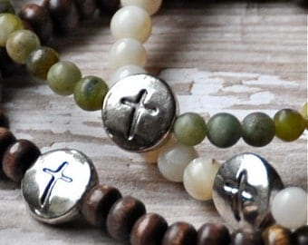 Bead Bracelets with Pewter Cross Charm by BeadRustic Free Shipping until 4/15/2015