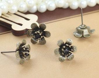 10 pcs  brass plating antique bronze  flower earring     pendant finding