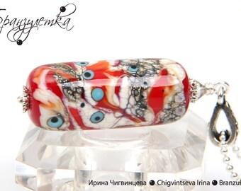 Luxury Pendant cylinder - lampwork bead red burgundy gray murrini flowers - chain
