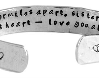 """Sister Gift - """"side by side, or miles apart, sisters are always close at heart -love you always"""" 1/2"""" secret inside message cuff bracelet"""