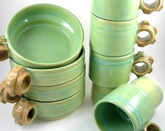 Coffee Cups and Soup Bowls in Chartreuse and Rust Stackable set of 8