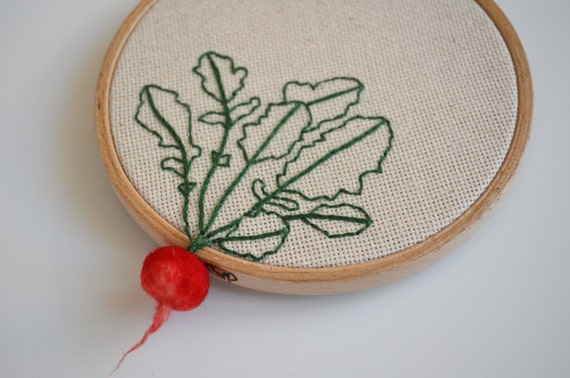 Embroidered Radish Hoop Art