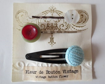 Vintage Buttons, Hair Pins, SET of 3, Handmade, Recycled