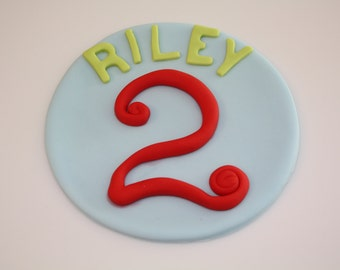 NAME / AGE MONOGRAM  -  Fondant Cake Topper 5 - 6 inches