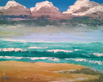 Abstract with Clouds and Beach - Painting Knife only - Oil on Canvas Panel - 8 x 10 inches
