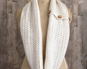 Easy KNITTING PATTERN Infinity Scarf Chunky Rib Mesh Infinity Scarf with Buttons PDF file instant download Beginner knit