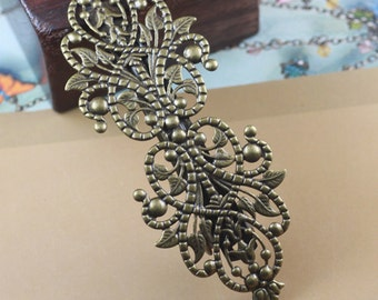 5PCS antique bronze hair barrette with double filigree components- X07389