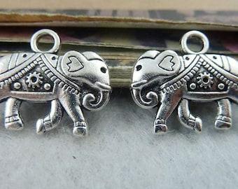20PCS antique silver 16x20mm double sided elephant charm pendant- XC6516