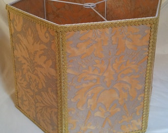 Floor Lamp Shade in Fortuny Fabric Yellow and Silvery Gold Lucrezia Pattern Large Hexagon Lampshade - Handmade in Italy