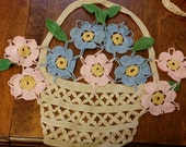 Vintage Crocheted Multi-Color Flower Basket Decoration