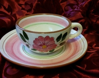 Vintage Stangl Wild Rose Tea Cup and Saucer