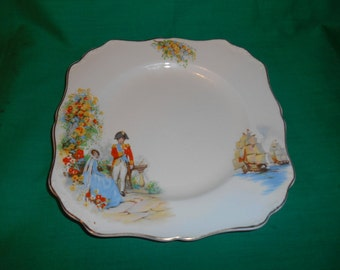 "One (1), 8 1/2"" Square Luncheon Plate, from J & G Meakin, in the Sunshine / Nelson Pattern."