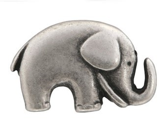 12 Jaybo Baby Elephant 3/4 inch ( 20 mm ) Metal Buttons Antique Silver Color