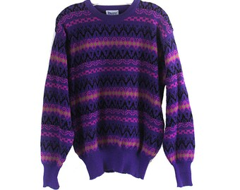 Vintage 80's Meister Vibrant color Purple patterned grandpas sweater Wool Acrylic