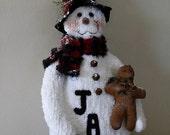 Christmas Snowman, Xmas Snowman, Christmas Ornament, Christmas Decoration, Holiday Decor, Dressed Snowman, Prim Snowman,