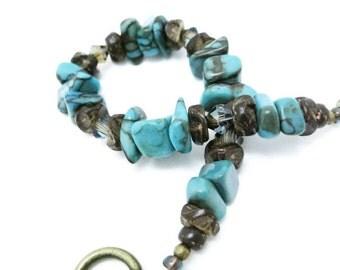 Turquoise Bead Bracelet handmade jewelry semi precious gemstone zebra jasper Swarowski bronze crystal gift for her Birthday Mothers Day gift