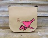 Messenger Bag Woman Purse Satchel Chirp Beige Pink Orange