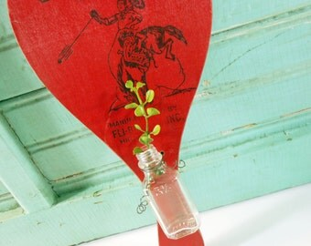 Hanging Bud Vase from Vintage Red Wooden Paddle and Glass Bottle Paddleball