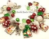 Santa Christmas Charm Bracelet Jewelry, Picture Charm Bracelet, Red Green White, Altered Art Charm Bracelet, Silver Plated, Adjustable