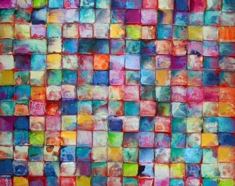 NEW ART HUGE Scale Original Mosaic Art by Caroline Ashwood - Textured and contemporary abstract painting on canvas - Free Shipping