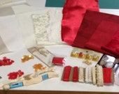 Cream and Red Flower Fairy Crazy Quilt (CQ) Kit