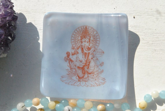 Ganesh, Ganesha 3x3 Small Square Glass Fused Dish in Lavender/Light Purple Glass