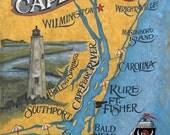 Cape Fear NC  Print , retro map-art