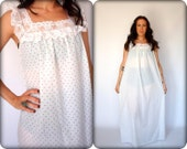 Ilise Stevens Strawberries & Lace Semi Sheer Night Gown Flower Buds Maxi Dress