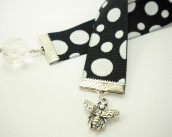 Black with White Polka Dots Grossgrain Ribbon Bookmark with Honey Bee Charm / Gifts under 10 / Stocking Stuffers