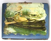 Celluloid Photo Album Woman In Boat Blue Velvet Back Late Victorian 1880s Cabinet Cards