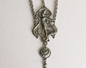 Vintage PEWTER Art Nouveau Goddess Necklace Mythological Pendant Long Silver Tone Necklace Wing Helmet