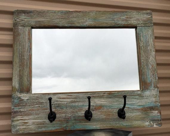 Grange bois miroir Barnwood porte-manteau nautique mur