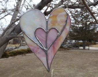 Stained Glass Heart Suncatcher Concentric Hearts In Shades Of Pink And Multicolored Pastels