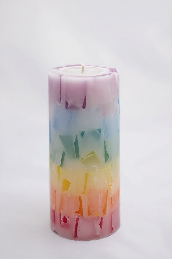 Rainbow In Reverse Chakra Meditation Unity Candle Color Magick Pillar Candle Scented in Your Choice Handmade Unique Candle