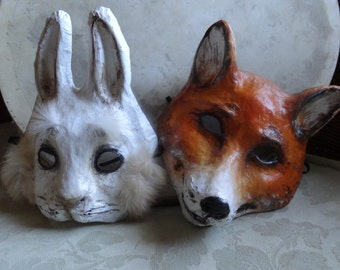 Alice in Wonderland Papier mache fox mask fox costume