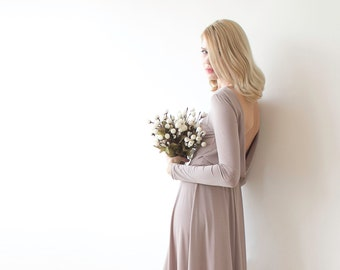 Taupe backless mini dress, Bridesmiads dress with long sleeves 1042