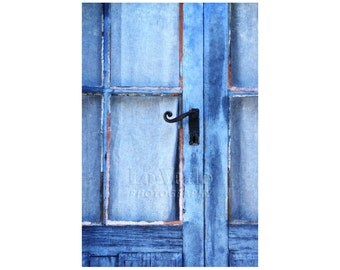 Blue Door Photo, France, Periwinkle Blue, Rustic Door, Cottage Decor, Shabby Chic