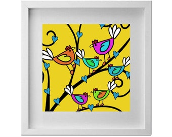 Colourful birds in a tree on a yellow/mustard background