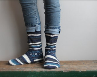 Women's Felted Wool Slippers/ Cabin Socks, Wool Slippers, Leather Soled Slippers