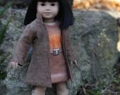 Pumpkin Latte Sweater Dress and Mocha Coat for AG Doll
